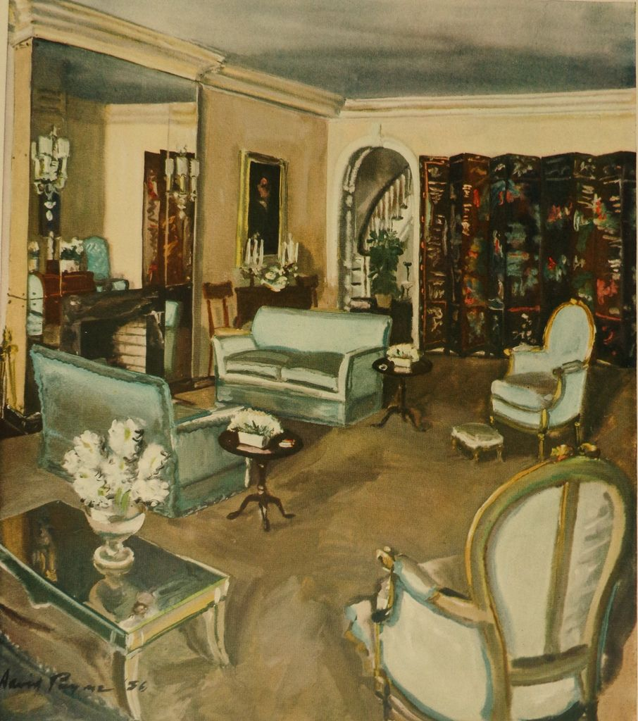 1930s living room by david mode payne 1930s living for Drawing room furniture designs