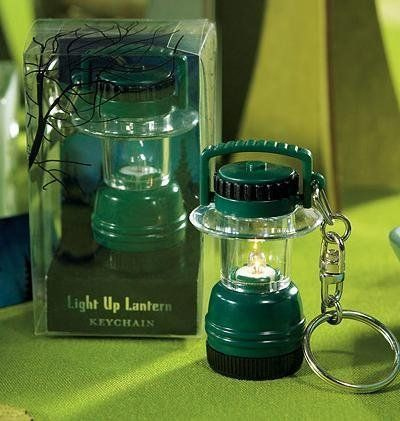 """Miniature Camping Lantern Key Chain in Novelty Gift Packaging by Weddingstar Inc.. $4.99. These miniature Camping Lanterns are totally adorable and are well suited for a wedding with a """"woodsy"""" backdrop. Framed with evening twilight inside an appealing gift box, this favor is sure to make a lasting impression with your guests."""
