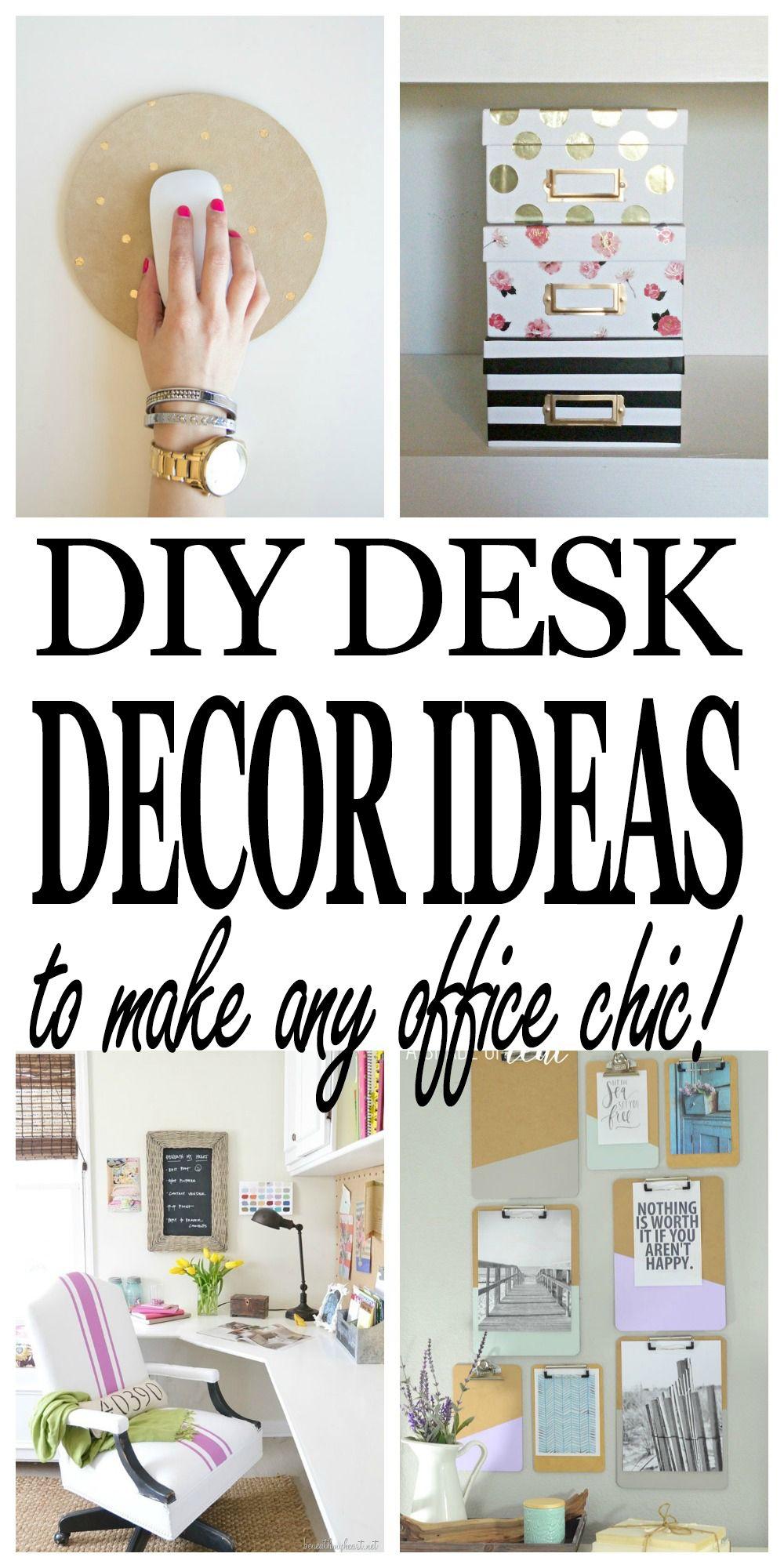 Chic Diy Desk Decor Ideas Every Office Needs Work Desk Decor Office Organization At Work Small Office Decor