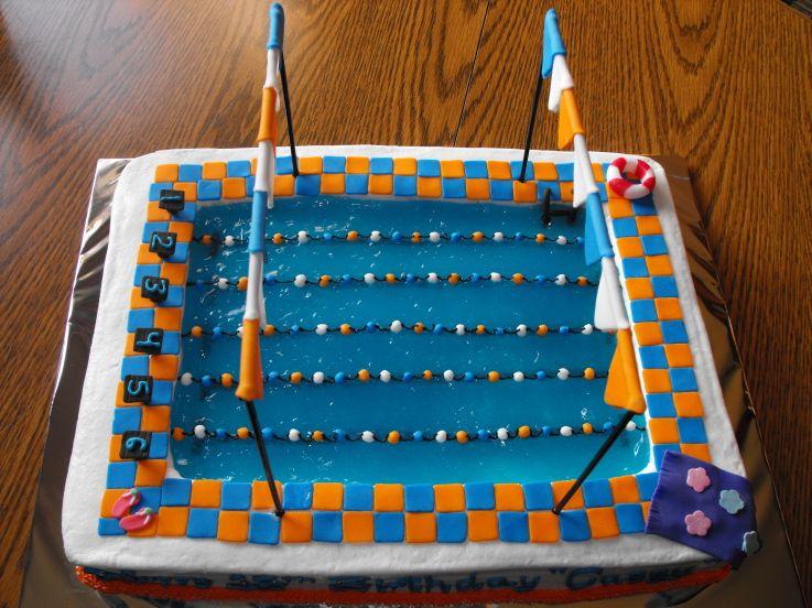 Cake swim team swimmer decorating community cakes we bake - Swimming pool birthday cake pictures ...