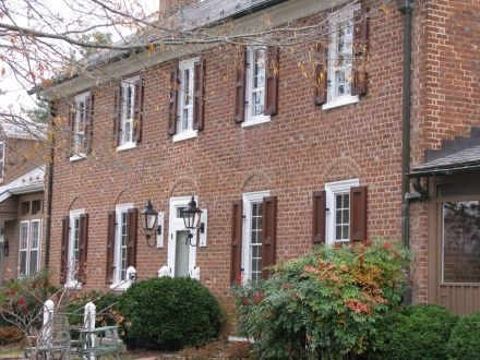 Federal Exterior Shutters Brick House White Trim Stained Wood Shutters