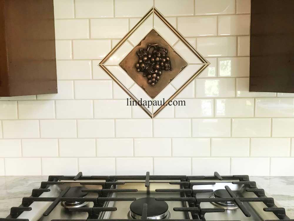 Metal Grape 8x8 Horizontal Tile Accent Wine Decor White Subway