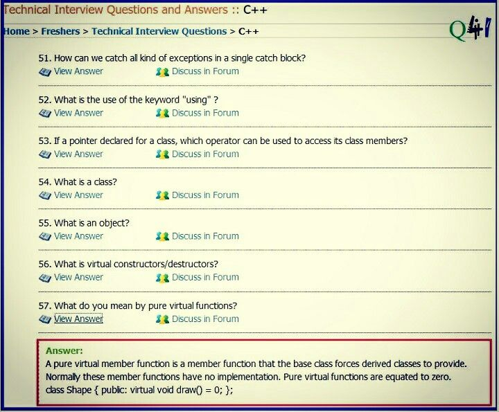 C++ Interview questions and answers   Technical Questions Discussion
