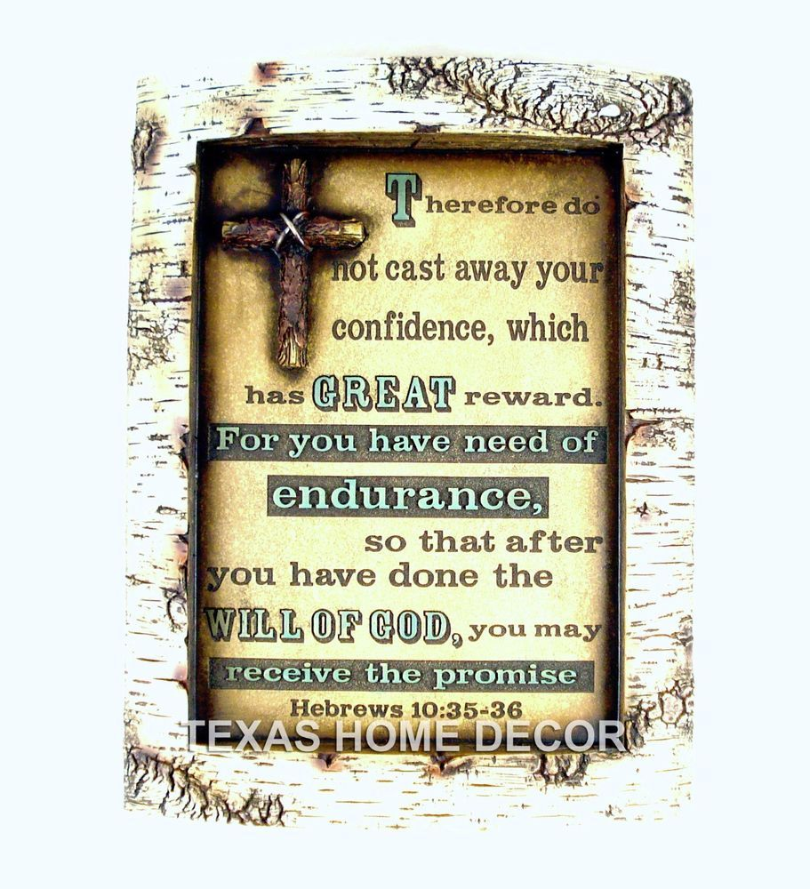 Bible Verse Wall Decor Plaque Hebrews 10: 35-36 Faux Carved Birch ...