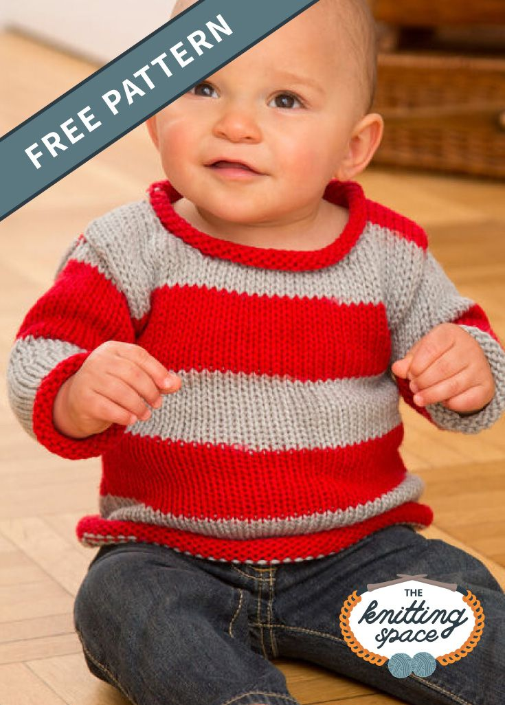 Sporty Knitted Baby Pullover [FREE Knitting Pattern]