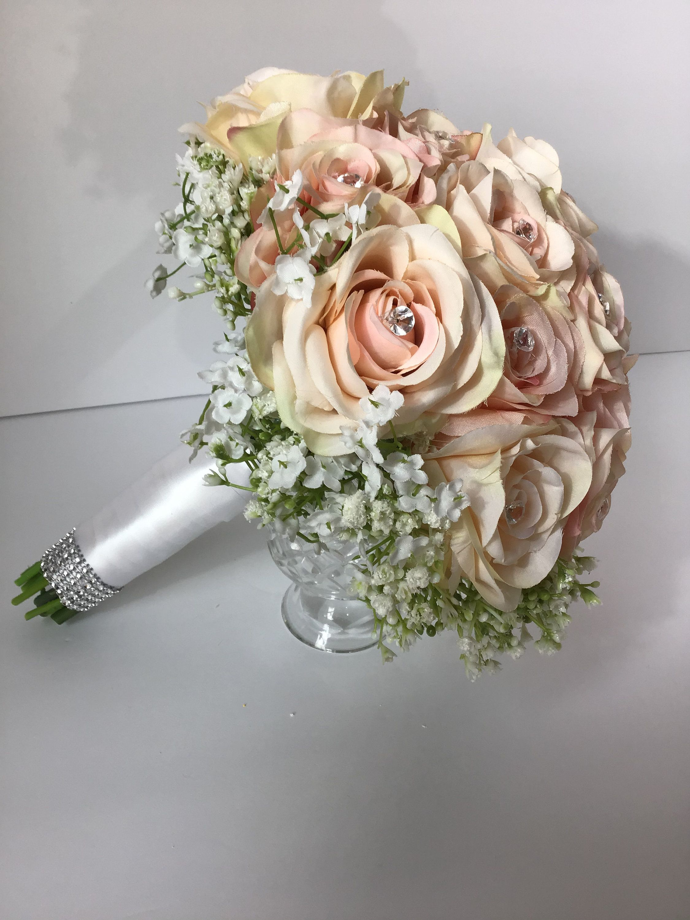 The Heather Collection Silk Flower Blush Rose Babys Breath Etsy In 2020 Rose Bridal Bouquet Wedding Bridal Bouquets Silk Bridal Bouquet