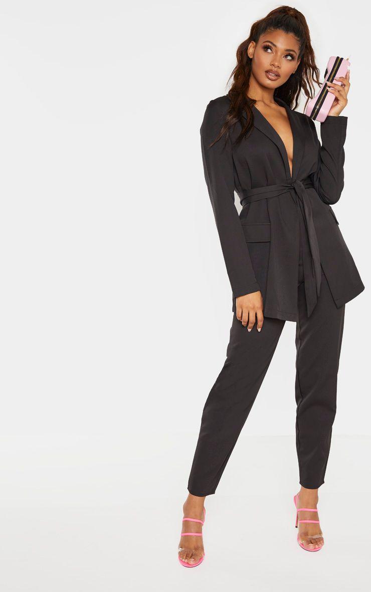 Tall Black Wide Leg Slim Cuff Suit Pants Two Piece Outfit Crochet Top Dress Trouser Suits [ 1180 x 740 Pixel ]