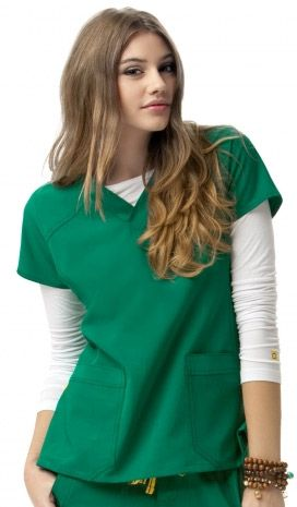 09ee3905e5a16d Sporty V-Neck Top 6214 Women's Modern Fit Shaping panel at waist and sides  Angled yoke at shoulders Tagless neck Stylized back yoke with locker loop  Logo at ...