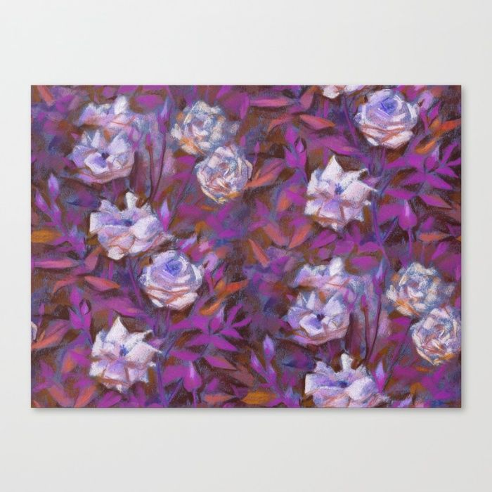 """White roses, purple leaves"", floral pattern Canvas Print by Clipso-Callipso…"