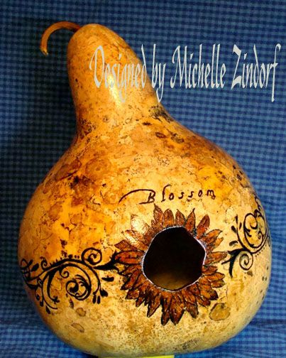 Decorated bird house gourds