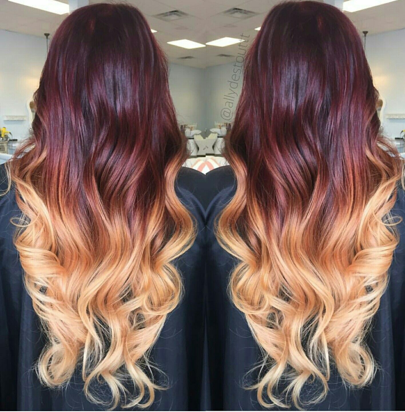 Mahogany To Blonde Ombre Burgundy Hair Hair Color Burgundy Hair Color Dark
