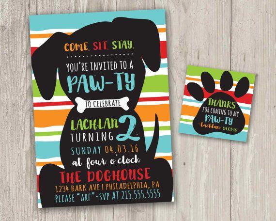 puppy pawty invitation, puppy birthday party invite, birthday, Birthday invitations