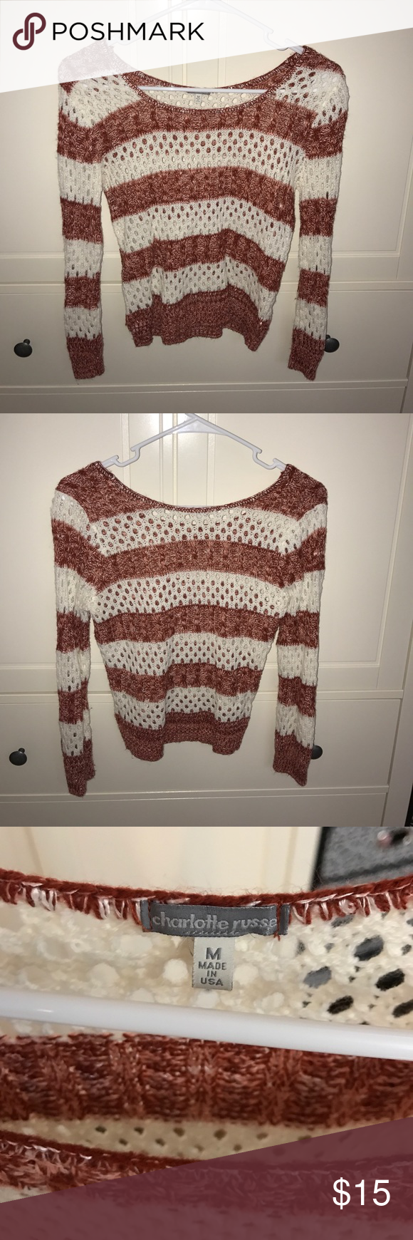 Charlotte Russe Knitted Sweater Like new! Only worn once. Red and while striped sweater with holes. Size M. Charlotte Russe Sweaters Crew & Scoop Necks