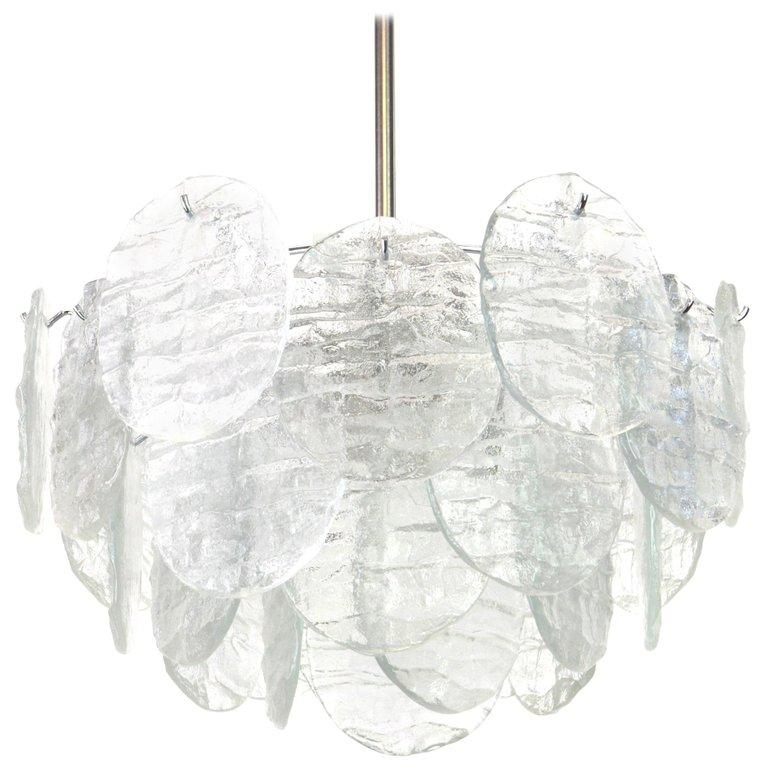 1970s Merano Glass Feather Chandelier