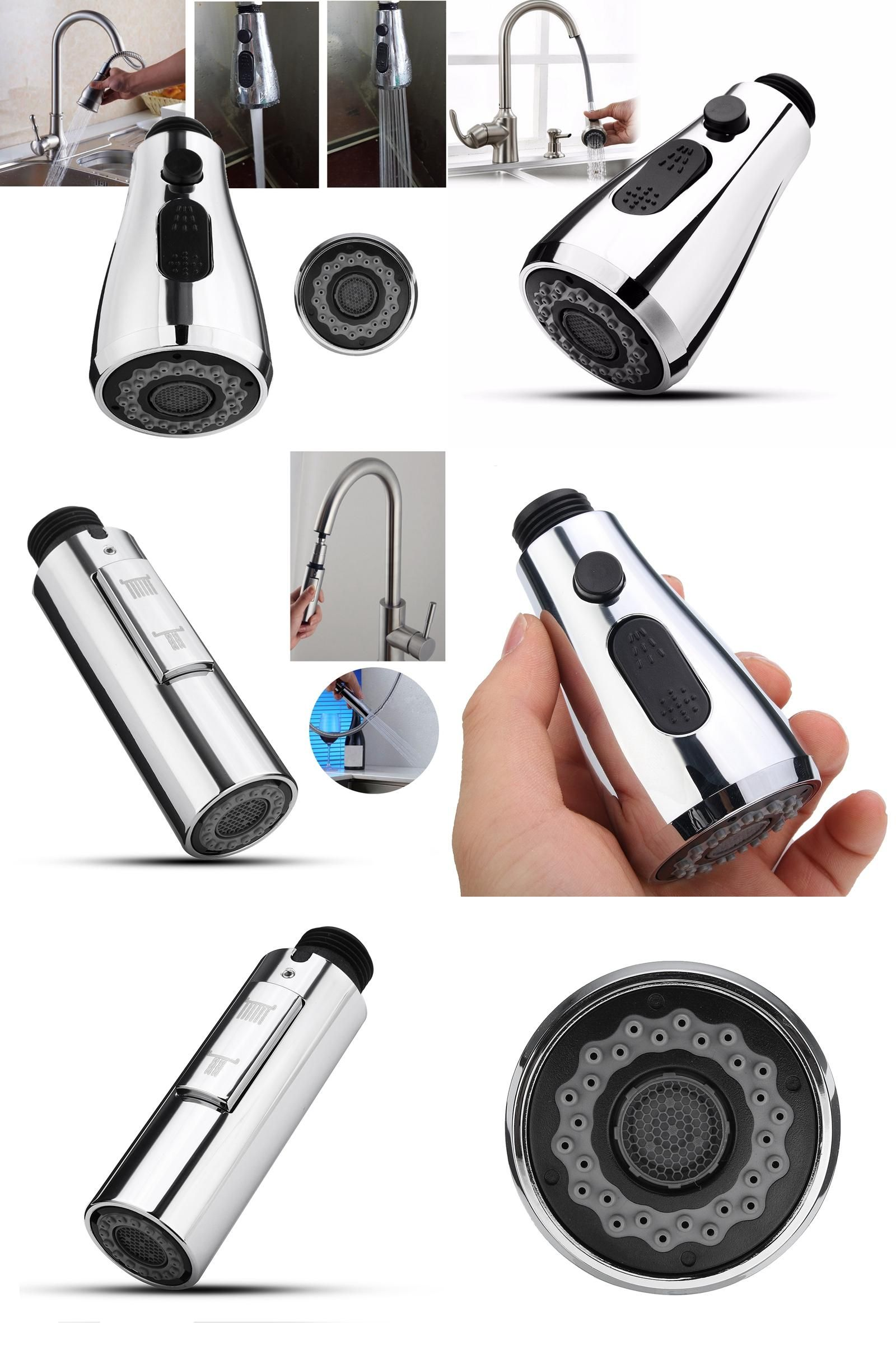 Visit to Buy Pull Out Down Kitchen Faucet Spray Nozzle 360 Swivel