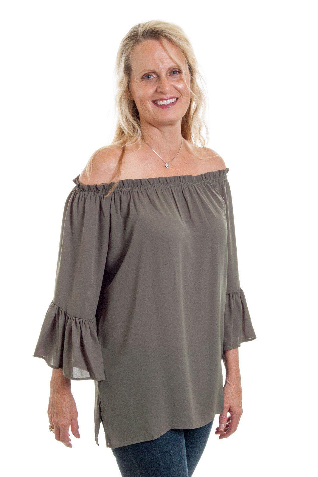 eacd1b838a0d Karen Kane - Convertible Off The Shoulder Top in Olive (2L25370 ...