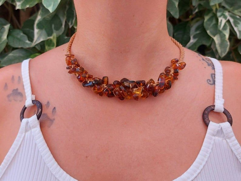 Natural amber statement necklace  large mexican amber bead necklace
