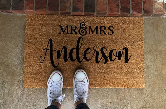 Mr And Mrs Doormat Custom Welcome Mat Personalized Doormat Wedding Gift Mr And Mrs Gift Housewarming Gift Last Name Doormat Newlywed Gift Door Mat Personalized Door Mats Welcome Home Gifts