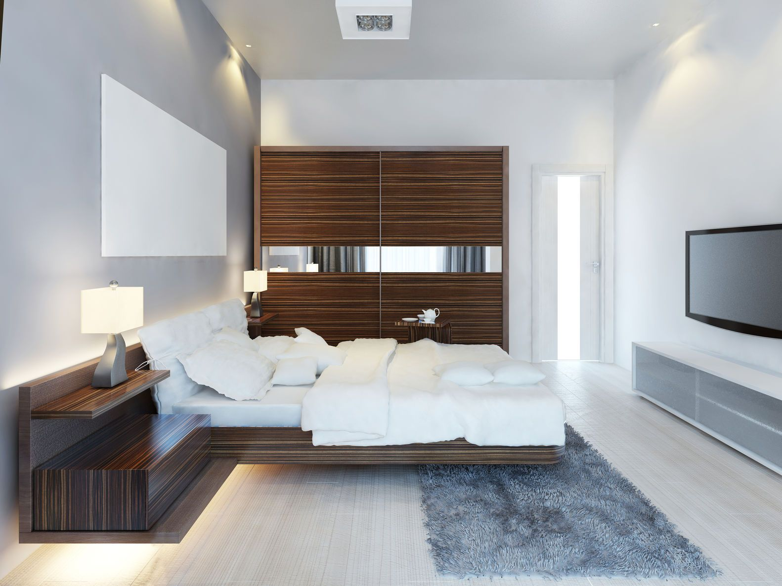 Design of Modern Spare Bedroom with Large Sliding Closet — Photo