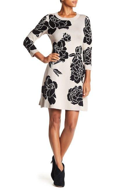 b6f14024c2b Image of Modern American Designer Floral Fit   Flare Sweater Dress ...