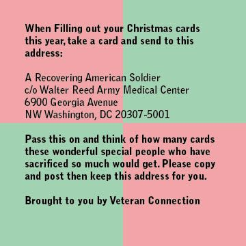 Send a Christmas card to a recovering american soldier this year ...