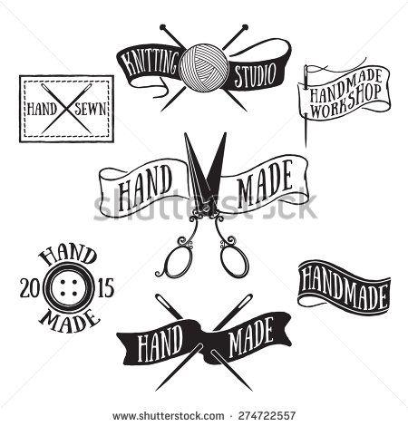Hand drawn set of vintage handmade labels and logo elements, retro ...