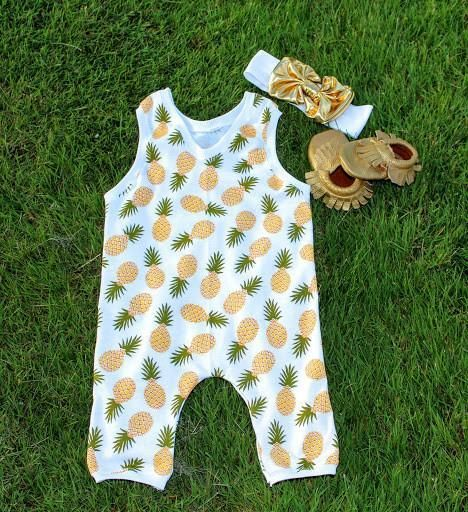 d28ac084f Tropical Colada - Pineapple Romper for Baby Girl Outfit