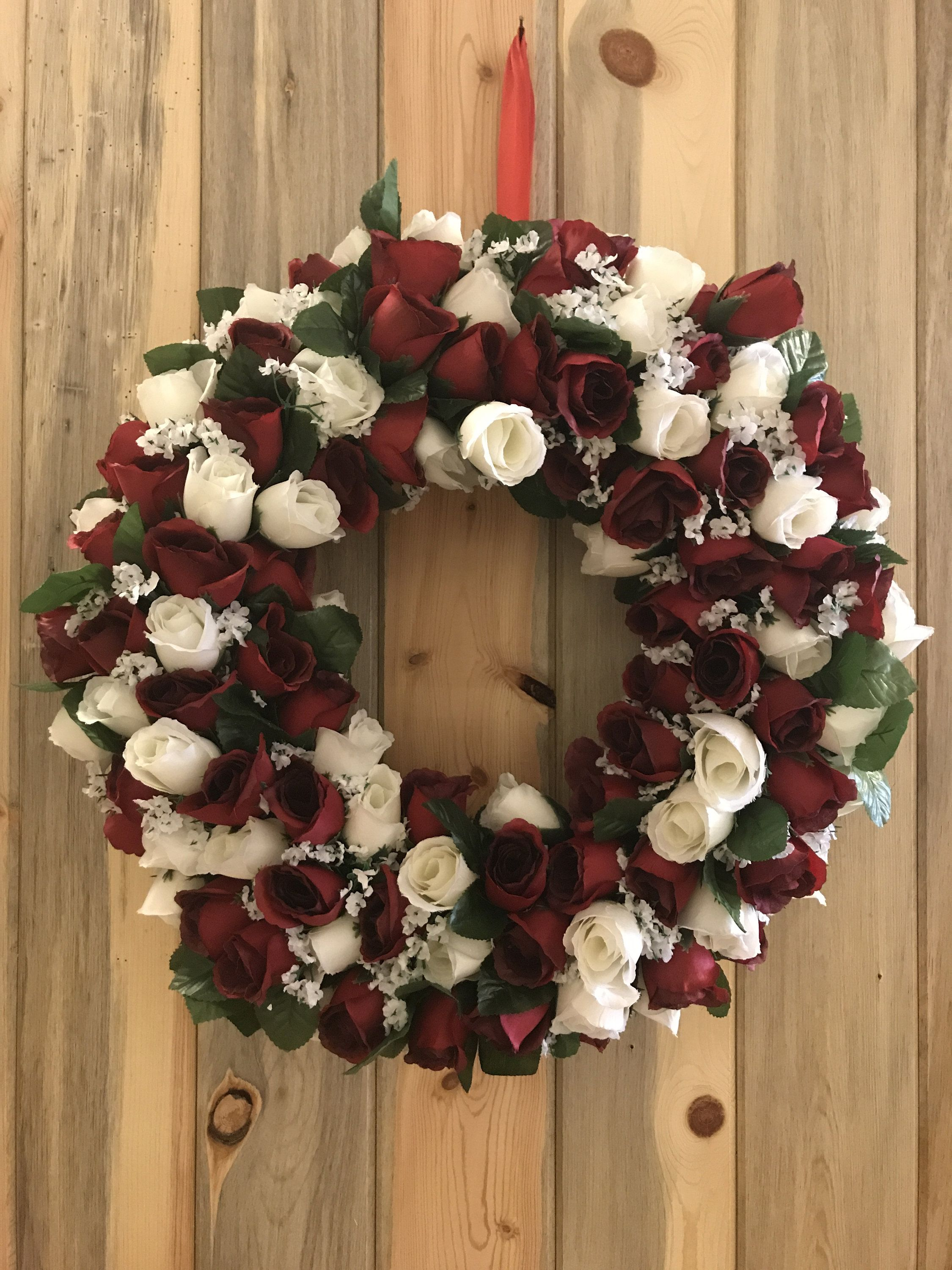 Rose Wreath Red Roses White Roses Mothers Day Wreath Front Door Wreath Indoor Wreath Summer Wreath Mantle Wreath Summer Door Wreaths Spring Door Wreaths Indoor Wreath