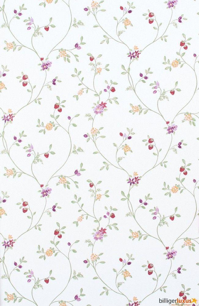 Wallpaper Rasch Blooming Garden satin wallpaper flowers white rh