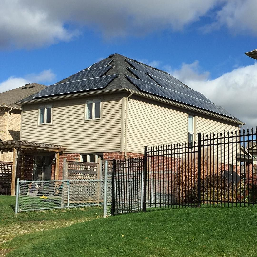 A Nice 10kw Install In Kitchener Love The Way The Black Frame Panels Look Solar Solarenergy Solarpanels Greenenergy Solar Panels Solar Outdoor Structures