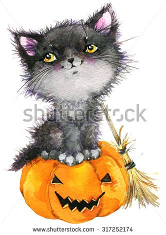 Halloween holiday little cat witch and pumpkin. Watercolor illustration background holiday Halloween. - stock photo