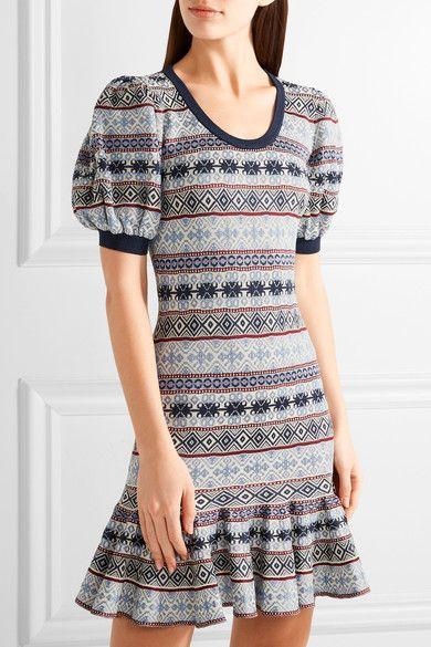 Alexander McQueen - Fair Isle Jacquard-knit Silk-blend Mini Dress ...