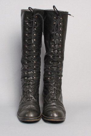 Vintage Black Leather Lace Up Boots