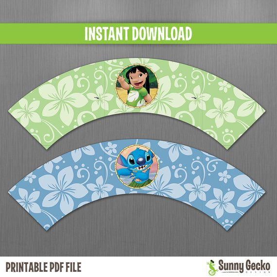 Disney Lilo and Stitch Birthday Cupcake Wrappers - Instant Download and Edit with Adobe Reader by Sunny Gecko Design