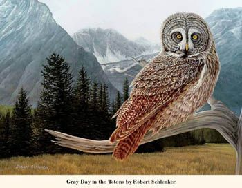 2014 Wildlife Art Advertising Calendar - April 2014 - Gray' Day in the Tetons - Artist: Robert Schlenker — at http://www.promocalendarsdirect.com/calendars/wildlife-portraits.