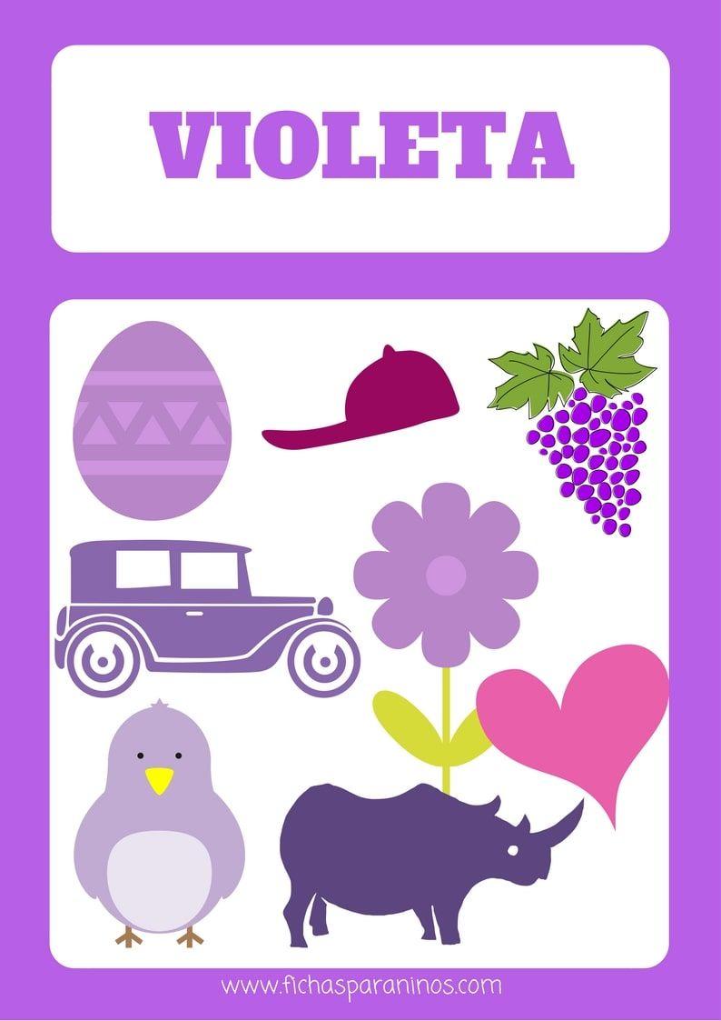 Ficha Para Aprender El Color Violeta Aprender El Morado Actividades Montessori Colores Ninos Tareas Para Ninos