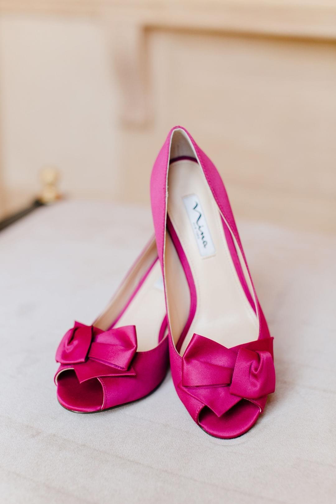 Hot Pink Satin High Heels Peep Toe Wedding Shoes Fuchsia