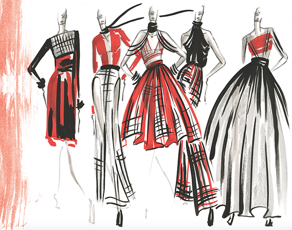 Fashion Strokes Sample Illustrations on FIT Portfolios #fitness inspiration desenho
