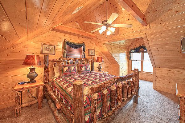 Parkside Palace is a 4-bedroom beautifully decorated log home with lots of deck space and beautiful views.