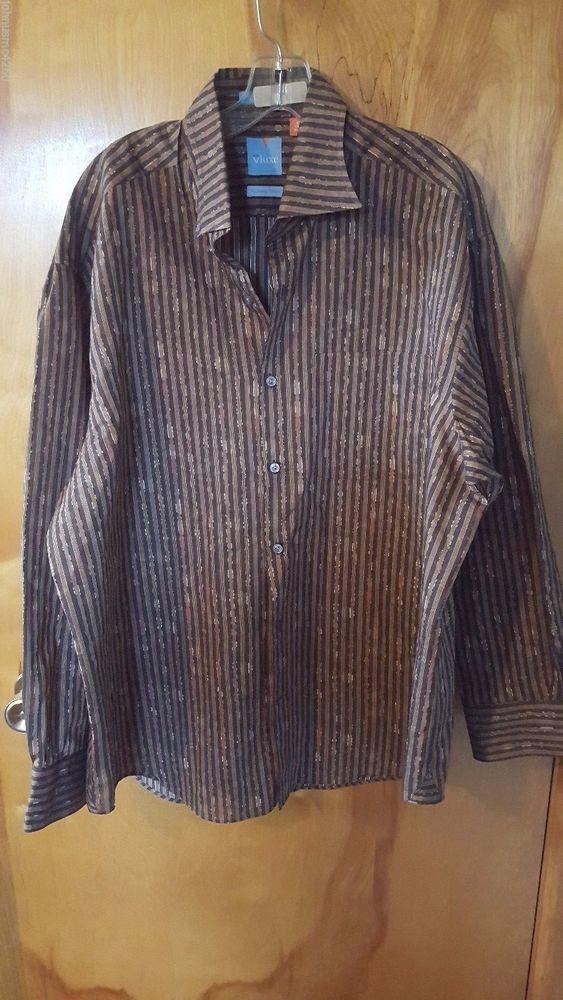 Vluxe Lucky Nahum Brown Orange Green Stripe Floral Men's Dress Shirt XXL 45-46 #Vluxe #daystarfashions $12.99