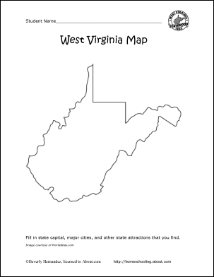 virginia state map coloring pages | Learn About West Virginia with These Free Printables! | WV ...