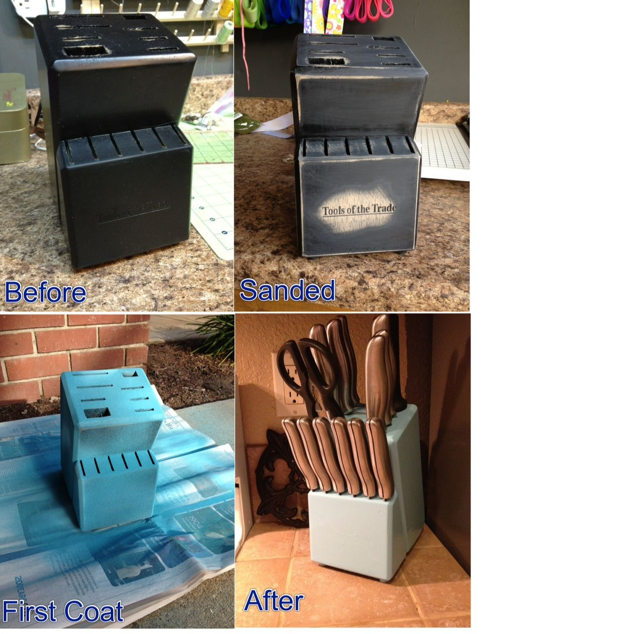 superb Diy Kitchen Decorating Projects #3: Refurbished Knife Block Project {DIY Kitchen Decor} www.pinsandpetals.com