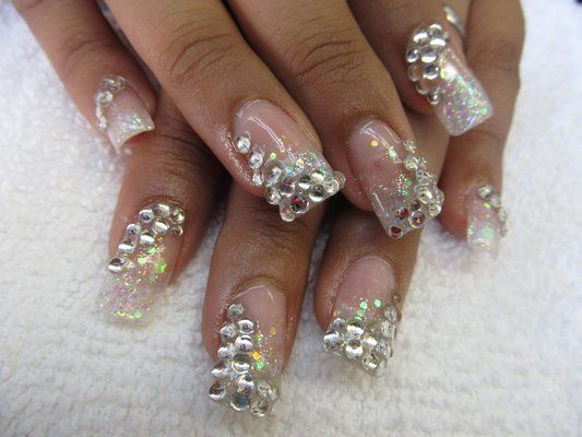 1000 Images About Nails On Pinterest Nail Art Coffin Nails And Dark - 33 Amazing Nail Art Ideas With Rhinestones Gems Pearls And Studs