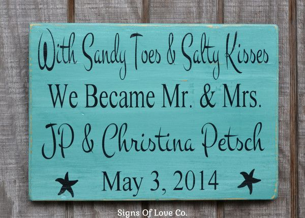 Personalized Beach Wedding Decorations Beach Party Signs With Sandy Toes and Salty Kisses Mr and Mrs Gift Wooden Plaque Reception Dinner Couples Carova Crafts Teal Green Mint Aqua Turquoise Coral Handmade Painted
