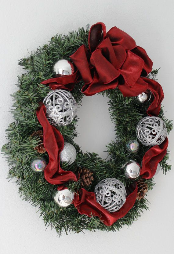Red  Silver Color Christmas Wreath 15 by Aloha4649 on Etsy Home