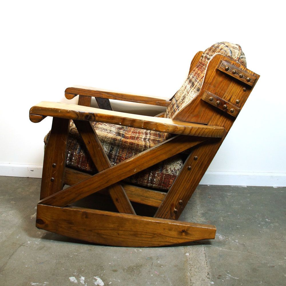 Western Rocking Chair / Vintage Solid Wood Wagon Wheel Armchair / Made In  Alabama USA By