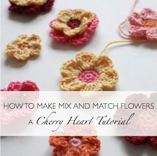 Fantastic step by step photographs that show you how to make mix and match crochet flowers. Shows you the magic loop and how to make a double #crochet flower. Cherry Heart blog.