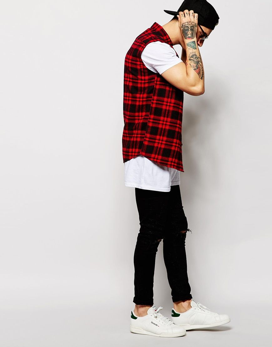 Image 4 of ASOS Sleeveless Shirt In Long Sleeve With Mid Scale Check