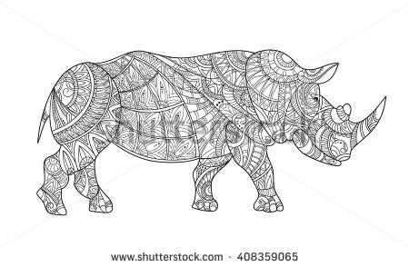 Drawing zentangle rhino for coloring page. Rhinoceros with elements oriental motif. Black and white rhinoceros. Anti stress Coloring Page monochrome sketch. Shirt design effect, logo