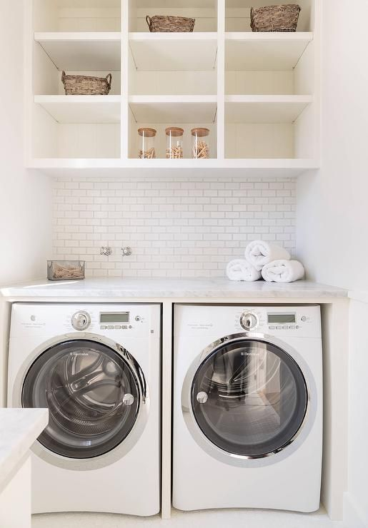Shelves over washer dryer laundry rooms mudrooms for Shelf above washer and dryer